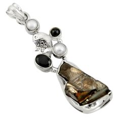 Clearance Sale- 18.45cts natural black shungite onyx pearl 925 silver pendant jewelry d43550