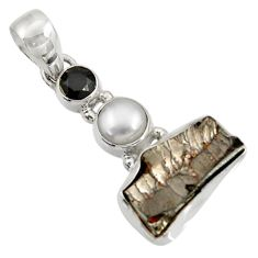 Clearance Sale- 11.04cts natural black shungite onyx pearl 925 sterling silver pendant d43546