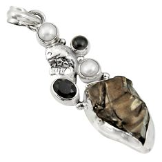 Clearance Sale- 18.15cts natural black shungite onyx pearl 925 sterling silver pendant d43551