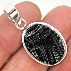10.73cts natural black shungite oval 925 sterling silver pendant jewelry t23653