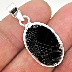 9.82cts natural black shungite oval 925 sterling silver pendant jewelry t23671
