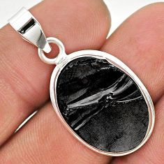 10.99cts natural black shungite oval 925 sterling silver pendant jewelry t23712