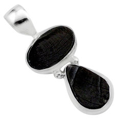 7.13cts natural black shungite oval 925 sterling silver pendant jewelry t42133