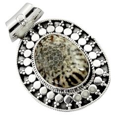 Clearance Sale- 13.07cts natural black stingray coral from alaska 925 silver pendant d45022