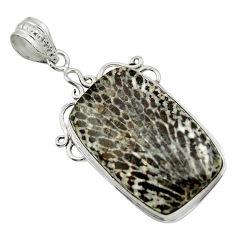 22.02cts natural black stingray coral from alaska 925 silver pendant r32101