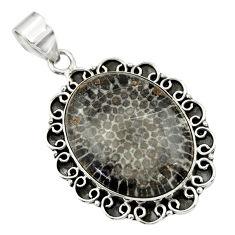 22.22cts natural black stingray coral from alaska 925 silver pendant r32110