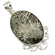 20.07cts natural black stingray coral from alaska 925 silver pendant r32205