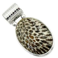 22.02cts natural black stingray coral from alaska 925 silver pendant r32209