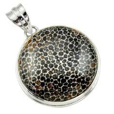 22.44cts natural black stingray coral from alaska 925 silver pendant r32210
