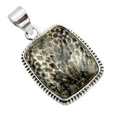 21.72cts natural black stingray coral from alaska 925 silver pendant r32211