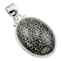 15.72cts natural black stingray coral from alaska 925 silver pendant r46121