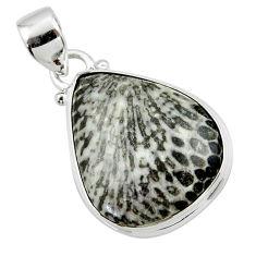 12.70cts natural black stingray coral from alaska 925 silver pendant r46122