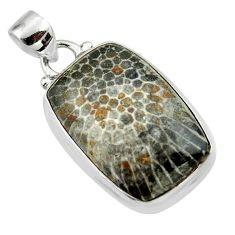 14.90cts natural black stingray coral from alaska 925 silver pendant r46124