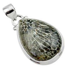16.10cts natural black stingray coral from alaska 925 silver pendant r46126