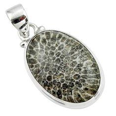 13.40cts natural black stingray coral from alaska 925 silver pendant r46132