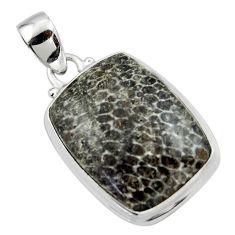 16.92cts natural black stingray coral from alaska 925 silver pendant r46134