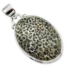 16.18cts natural black stingray coral from alaska 925 silver pendant r46138