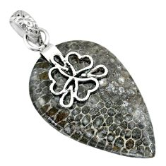 Clearance Sale-  black stingray coral from alaska 925 silver pendant r91342