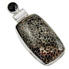 25.00cts natural black stingray coral from alaska onyx 925 silver pendant r30594