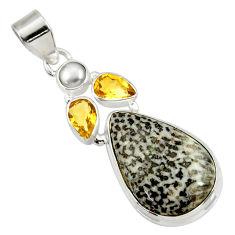 18.15cts natural black stingray coral from alaska pearl silver pendant d43183