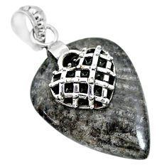 24.61cts natural black stingray coral from alaska silver heart pendant r91361