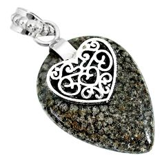 20.58cts natural black stingray coral from alaska silver heart pendant r91365