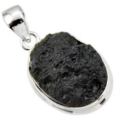 13.17cts natural black tektite 925 sterling silver pendant jewelry r33886