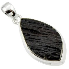 13.70cts natural black tektite 925 sterling silver pendant jewelry r33897