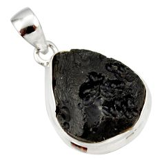 14.72cts natural black tektite 925 sterling silver pendant jewelry r33918