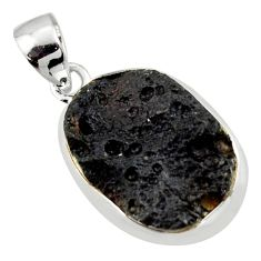 12.22cts natural black tektite 925 sterling silver pendant jewelry r41825