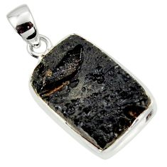 14.72cts natural black tektite 925 sterling silver pendant jewelry r41838