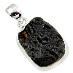 13.15cts natural black tektite 925 sterling silver pendant jewelry r41839