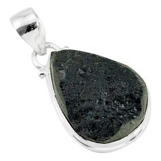 13.55cts natural black tektite 925 sterling silver pendant jewelry r88602