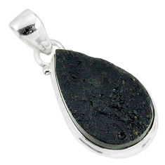 14.45cts natural black tektite 925 sterling silver pendant jewelry r88617