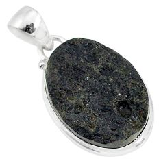 15.93cts natural black tektite 925 sterling silver pendant jewelry r88619