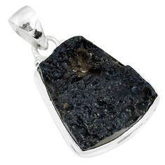 15.48cts natural black tektite 925 sterling silver pendant jewelry r88627