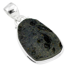 13.55cts natural black tektite 925 sterling silver pendant jewelry r88628