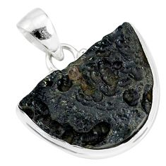 14.98cts natural black tektite 925 sterling silver pendant jewelry r88630