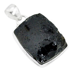 19.52cts natural black tektite 925 sterling silver pendant jewelry r88636