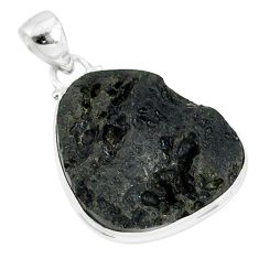 24.38cts natural black tektite 925 sterling silver pendant jewelry r88640