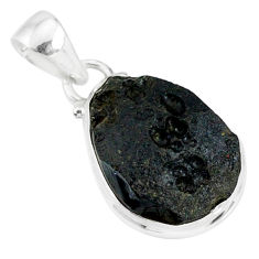 11.92cts natural black tektite 925 sterling silver pendant jewelry r88643