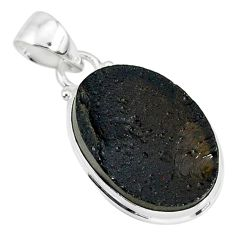 12.05cts natural black tektite 925 sterling silver pendant jewelry r88647