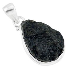 16.05cts natural black tektite 925 sterling silver pendant jewelry r88649