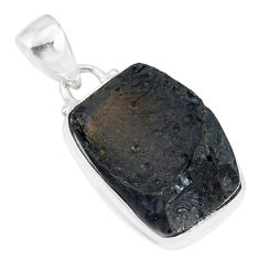 12.48cts natural black tektite 925 sterling silver pendant jewelry r88652