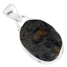 10.45cts natural black tektite 925 sterling silver pendant jewelry r88655