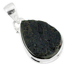13.43cts natural black tektite 925 sterling silver pendant jewelry r88657