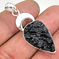14.23cts natural black tektite 925 sterling silver pendant jewelry t15205