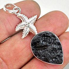 17.20cts natural black tektite 925 sterling silver star fish pendant t15213