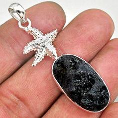 16.24cts natural black tektite 925 sterling silver star fish pendant t15222