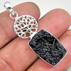 13.70cts natural black tektite 925 sterling silver tree of life pendant t15227